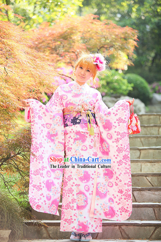 Traditional Japanese Pink Kimono Set for Women