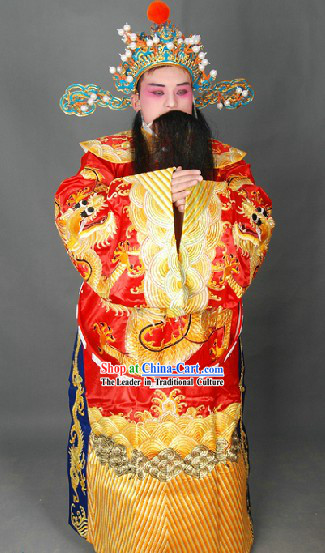 Peking Opera Embroidered Dragon Cai Shen Ye Costumes Uniform and Hat for Men