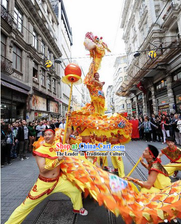 Supreme Chinese Happy Celebration Parade Chongqing Dragon Dancing Costumes Complete Set