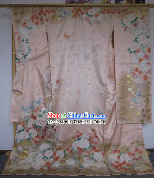 100% Silk Traditional Japanese Pink Kimono Complete Set for Women
