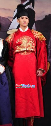 Kim Soo Hyun Ancient Korean Emperor Costumes and Hat for Men