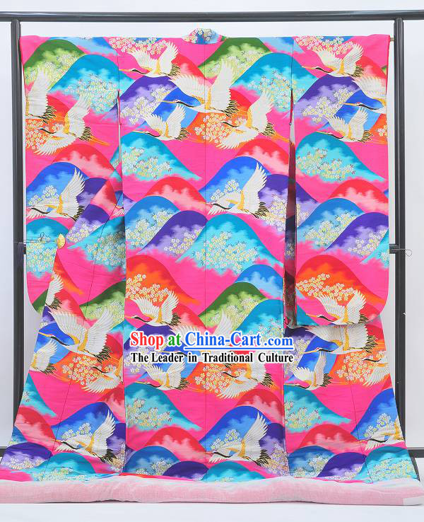 Ancient Japanese Cranes Kimono Set for Women