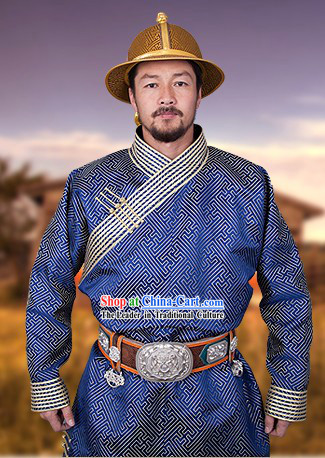 Traditional Mongolian Dresses and Hat for Men