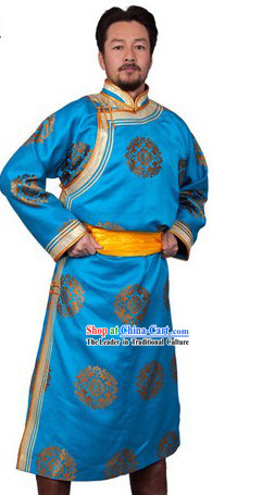 Traditional Chinese Long Blue Mongolian Prince Robe for Men