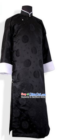 Traditional Chinese Minguo Time Long Black Robe for Men
