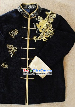 Traditional Chinese Black Embroidered Dragon Blouse