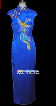 Chinese Classical Silk Blue Embroidered Phoenix Cheongsam