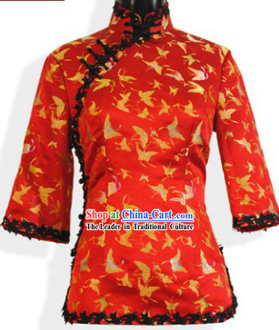 Chinese Classical Red Silk Tang Suit Blouse for Women