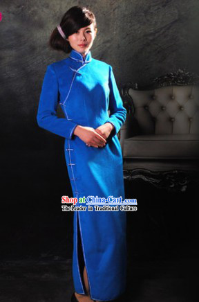 Traditional Chinese Blue Super Long Cheongsam