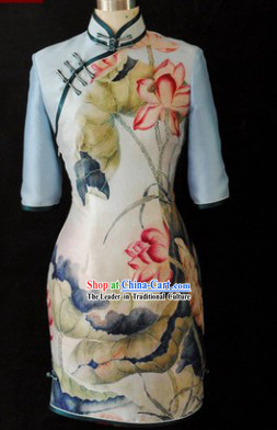 Traditional Chinese Important Ceremony Silk Lotus Qipao