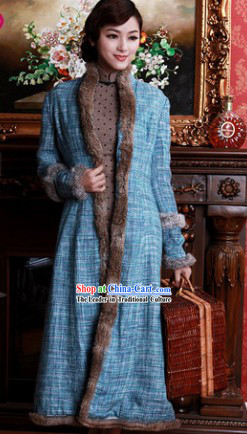 Chinese Old Shanghai Style Long Fur Jacket for Women