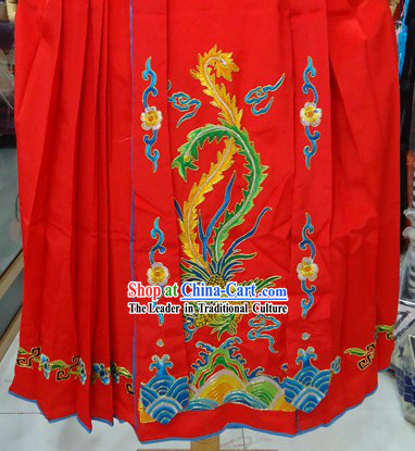 Traditional Chinese Stage Performance Red Embroidered Phoenix Skirt