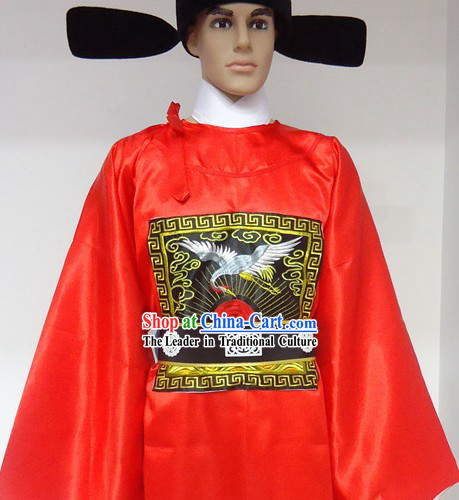 Ancient Chinese Ming Dynasty Red Government Robe and Hat for Men