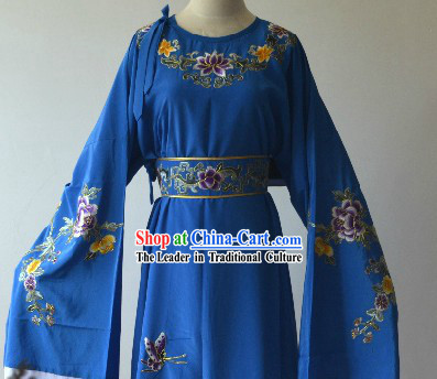 Round Collar Peking Opera Embroidered Flower Yong Men Dress