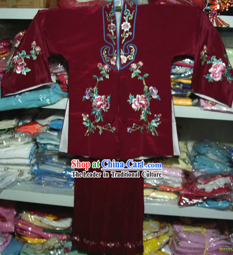 Chinese Peking Opera Embroidered Lao Dan Costumes for Kids