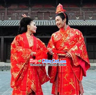 Traditional Chinese Wedding Hanfu Dresses for Brides and Bridegrooms