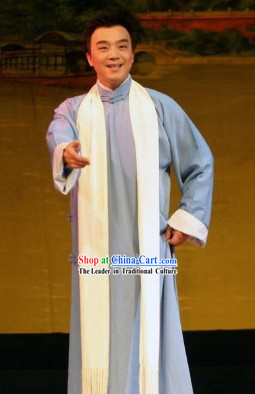 Traditional Chinese Hai Tang Long Robe and Scarf for Men