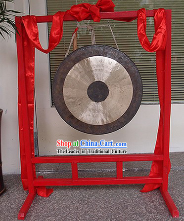 Traditional Chinese Red Wooden Gong Stand