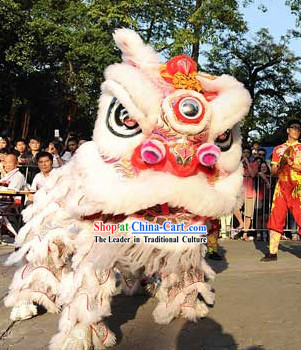 Powerful White Lion Dance Chinese New Year Fut San Costumes Complete Set