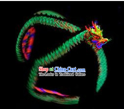 Green Luminous Dragon Dance Costumes Full Set