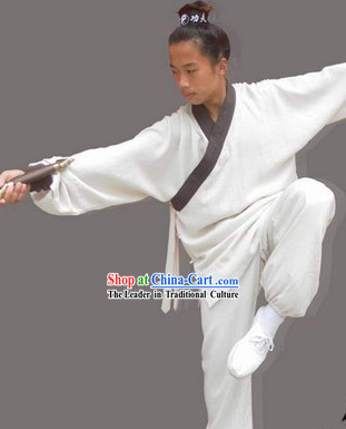 Classic White Long Kung Fu Robe for Men