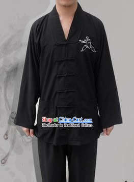 Classic Black Cotton Mandarin Chinese Wu Shu Uniform
