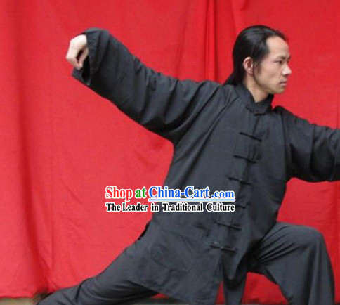 Top Quality Black Natural Flax Mandarin Chinese Martial Arts Uniform