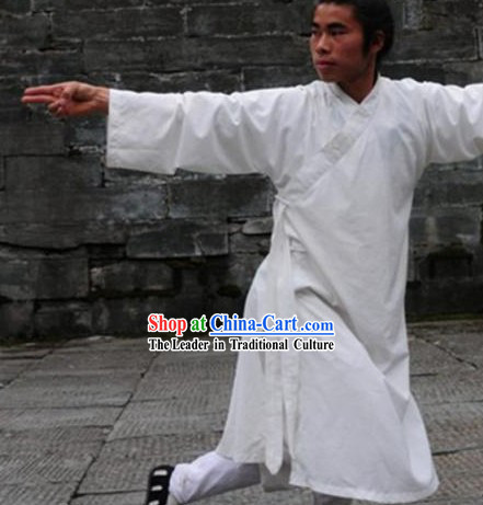Top Quality Black Natural Flax Mandarin Chinese Martial Arts Robe and Pants