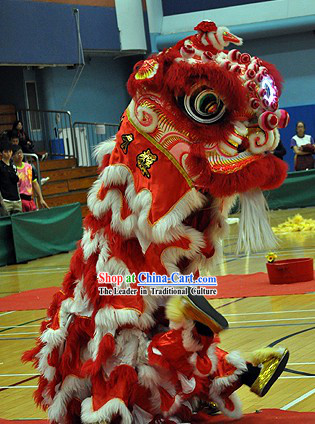 Red and White Long Wool Lion Dance Head and Costume Complete Set