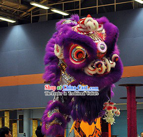 Purple Competition and Events Lion Dance Head and Costume Complete Set
