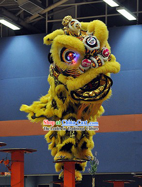 LED Eyes Black Gold and Yellow Competition and Display Lion Dance Head and Costume Complete Set