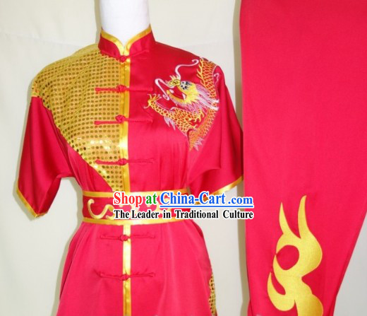 Top Silk Broadcloth Kung Fu Championship Costumes Complete Set