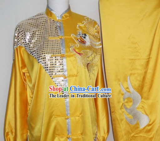 Top Silk Broadcloth Kung Fu Championship Dragon Uniform Complete Set