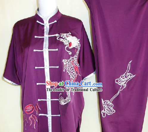 Traditional Chinese Silk Dragon Martial Arts Stage Performance Suit