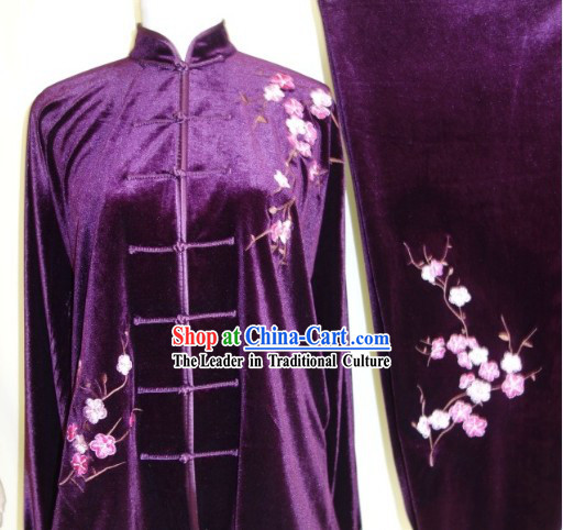 Top Velvet Plum Blossom Embroidery Martial Arts Uniform