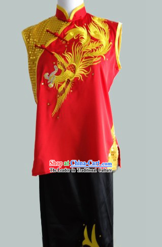 Gold Dragon Embroidery Sleeveless Southern Fist Nanquan Uniform Complete Set