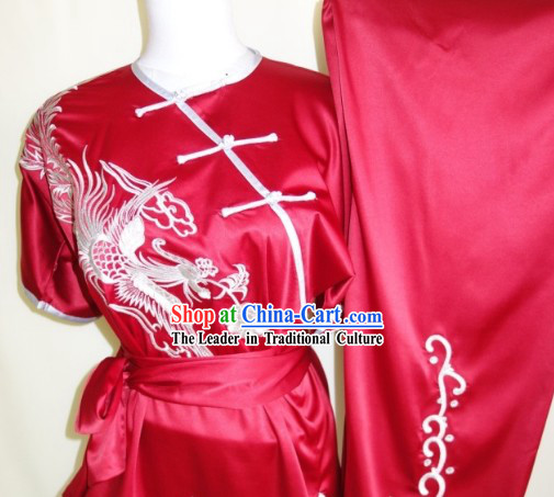 Top Chinese Traditional Dragon Silk Martial Arts Uniforms Supplies for Adults