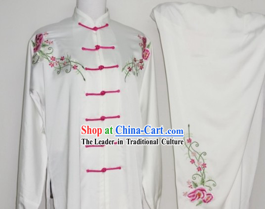 Everflowering Rose Embroidery Kung Fu Suit, Kung Fu Uniform, Chinese Jacket, Silk Robe