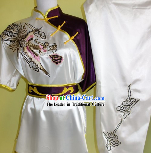 Asian Silk Embroidery Wushu Dress Martial Arts Clothing