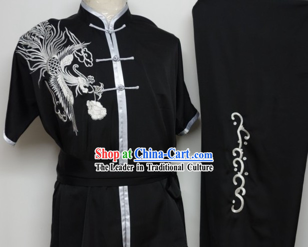 Global Championships Tournament Black Kung Fu Phoenix Embroidery Uniform