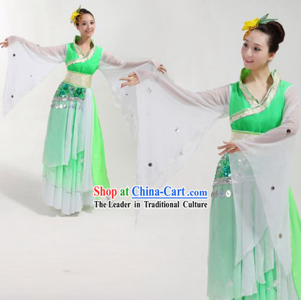 Ancient Chinese Style Classical Dance Costumes and Headwear Complete Set for Women
