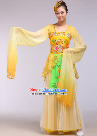 Long Sleeves Chinese Classical Dance Costumes and Hair Accessories for Women