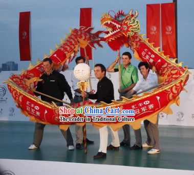Six People Red Shanghai Dragon Dance Costume Complete Set