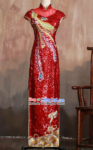 Traditional Chinese Wedding Ceremony Red Phoenix Qipao Cheongsam