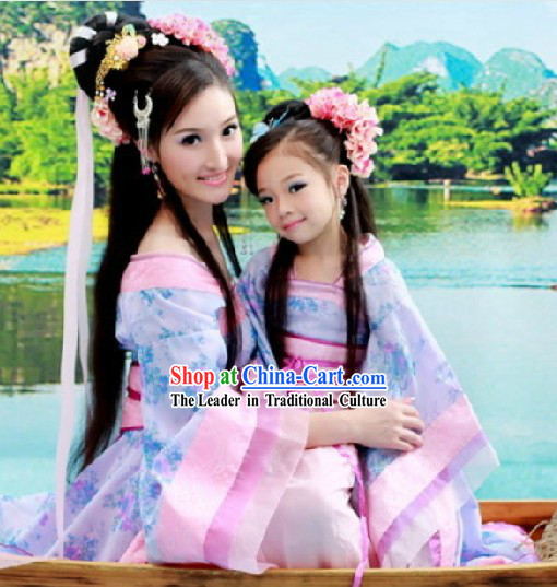 Ancient Chinese Long Trail Royal Family Costumes for Adult or Kids