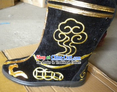Black Traditional Chinese Stage Performance Folk Dance Boots