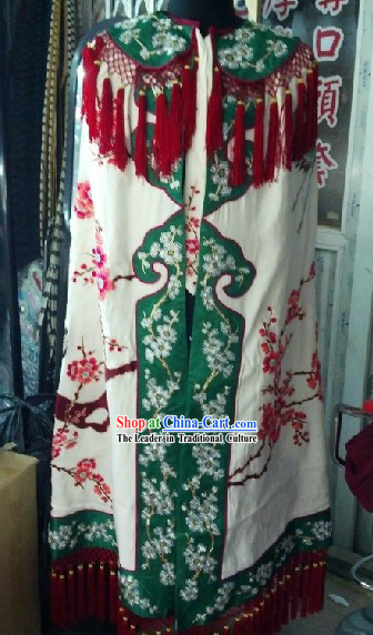 Ancient Chinese Embroidered Flower and Crane Mantle