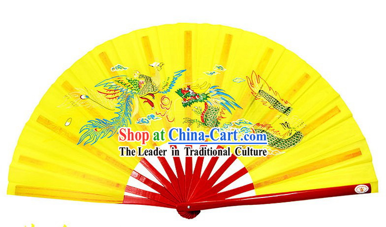 Yellow Traditional Wushu Double Fans for Right and Left Hands