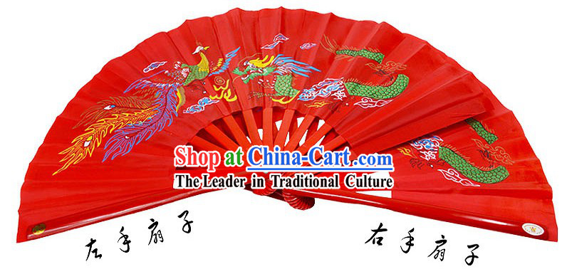 Red Traditional Wushu Double Fans for Right and Left Hands