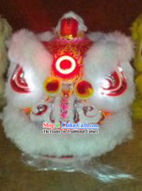 LED Lights Circle White Wool Lion Dance Costumes Full Set